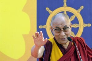 The Dalai Lama addresses a gathering at a stadium in the northeastern Indian city of Guwahati