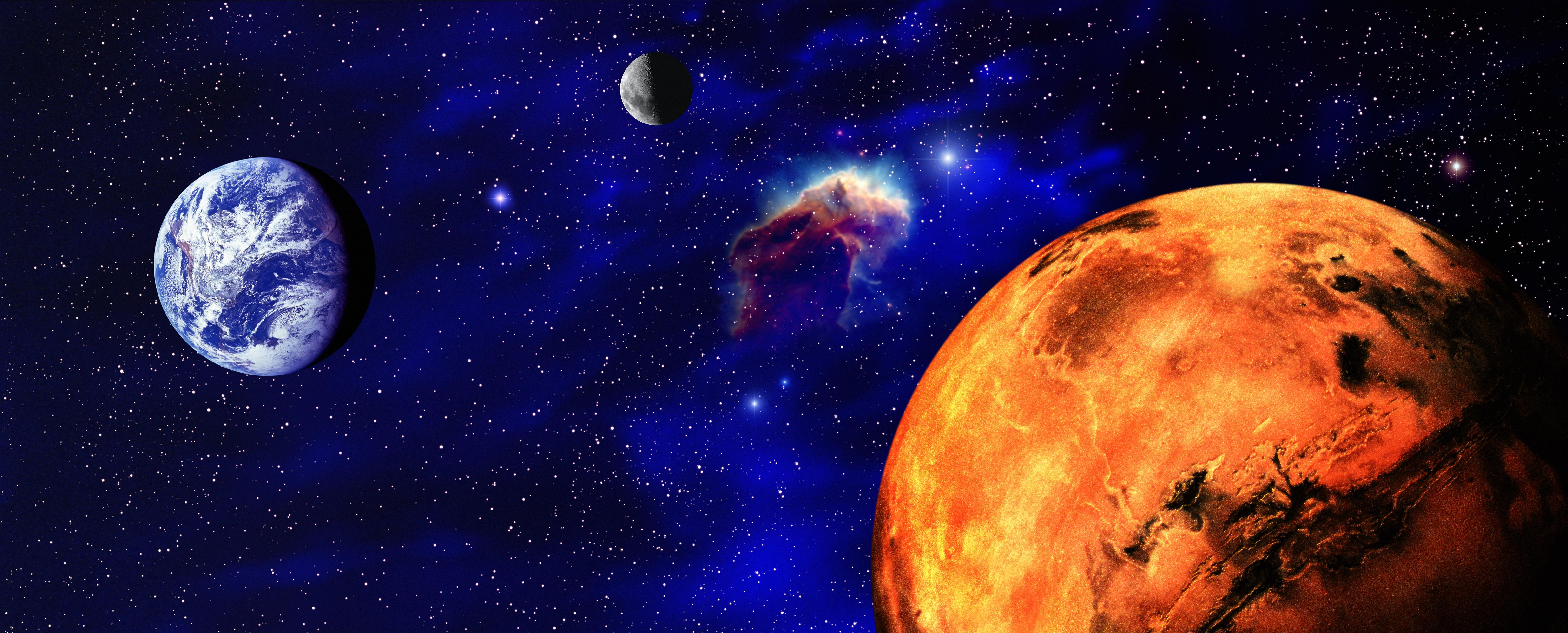 Illustration of Mars and Earth