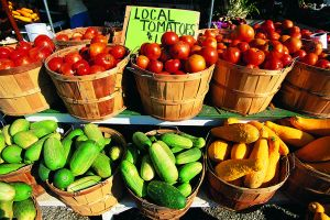 Baskets with fresh produce
