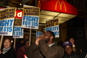 Home care workers rally in front of downtown Brooklyn...