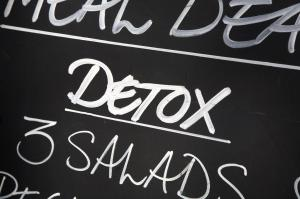 Detox sign at health food cafe
