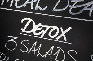 Detox sign at health food cafe