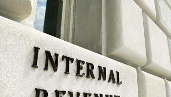 Sign on Internal Revenue Service building, Washington, DC