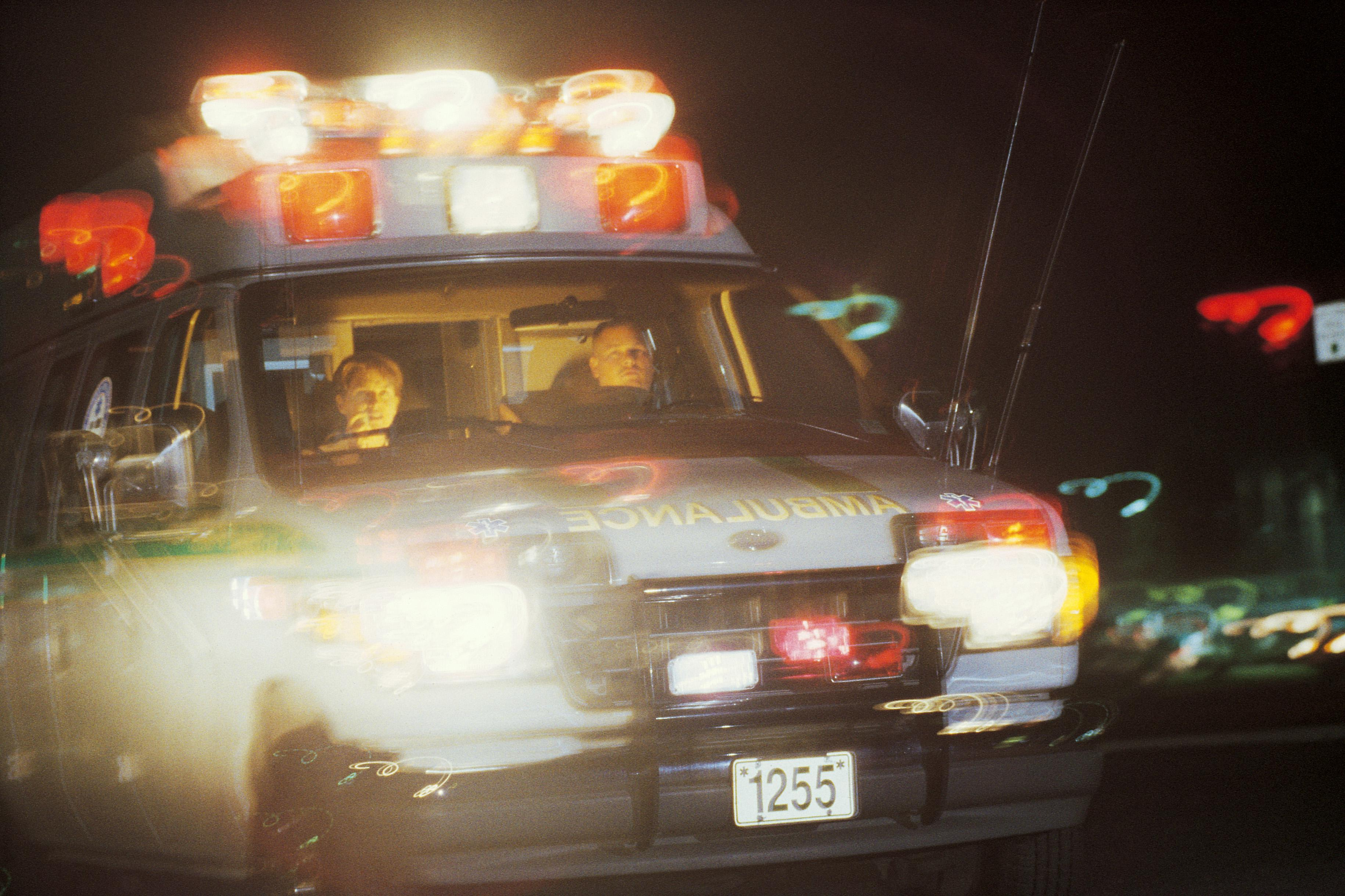 Ambulance with lights flashing