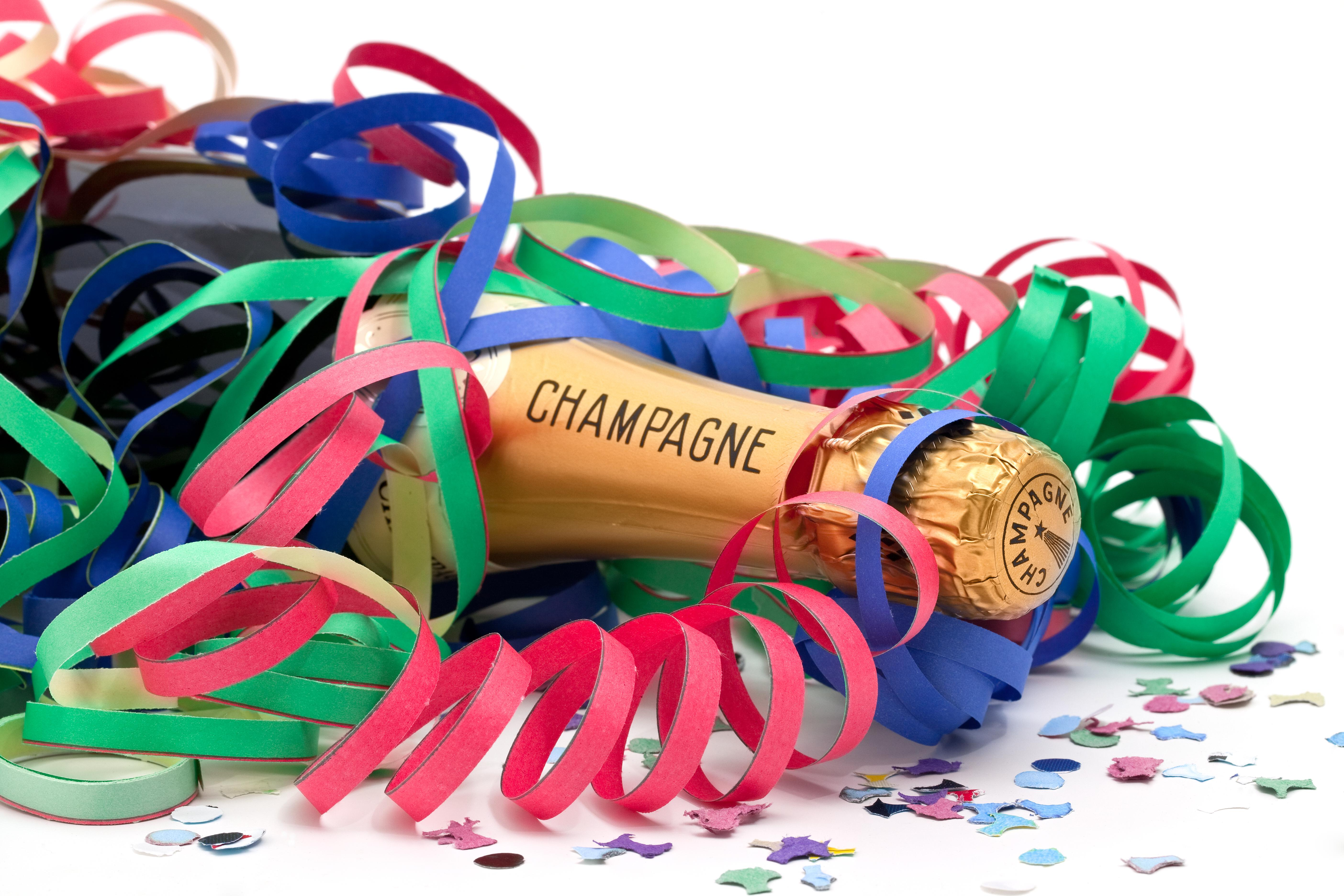 Chamapgne bottle and streamers