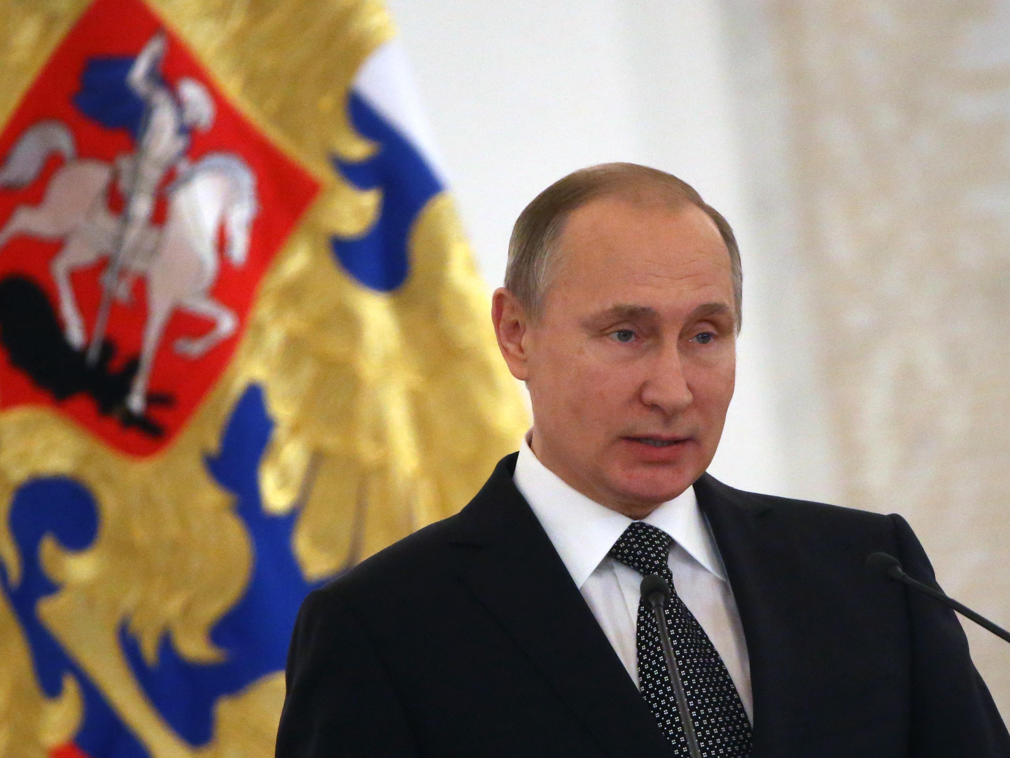 Russian President Vladimir Putin Attends Heroes Of The Farherland's Day Reception