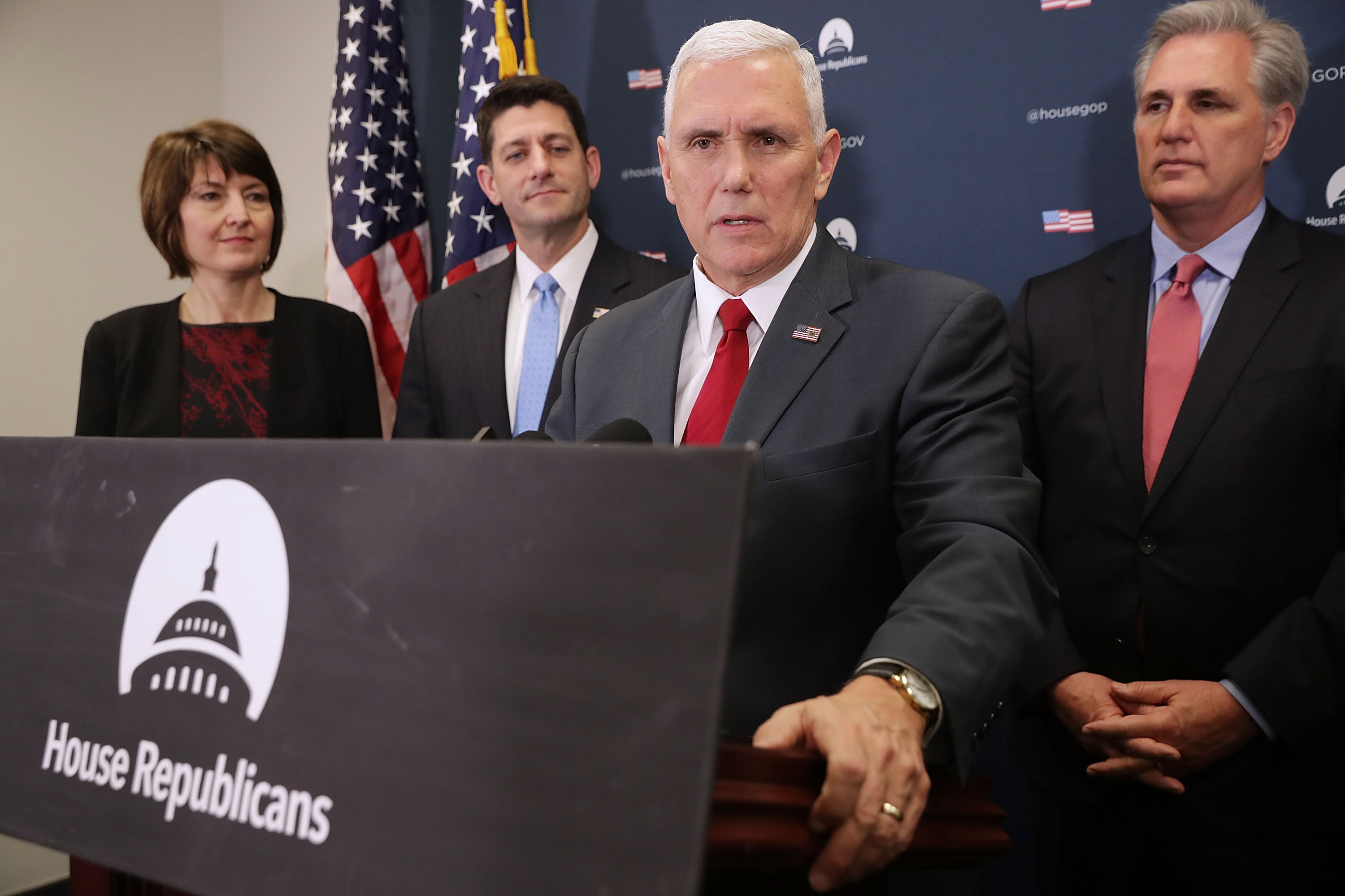 Vice President-Elect Gov. Mike Pence Meets With House Republicans In Capitol Hill