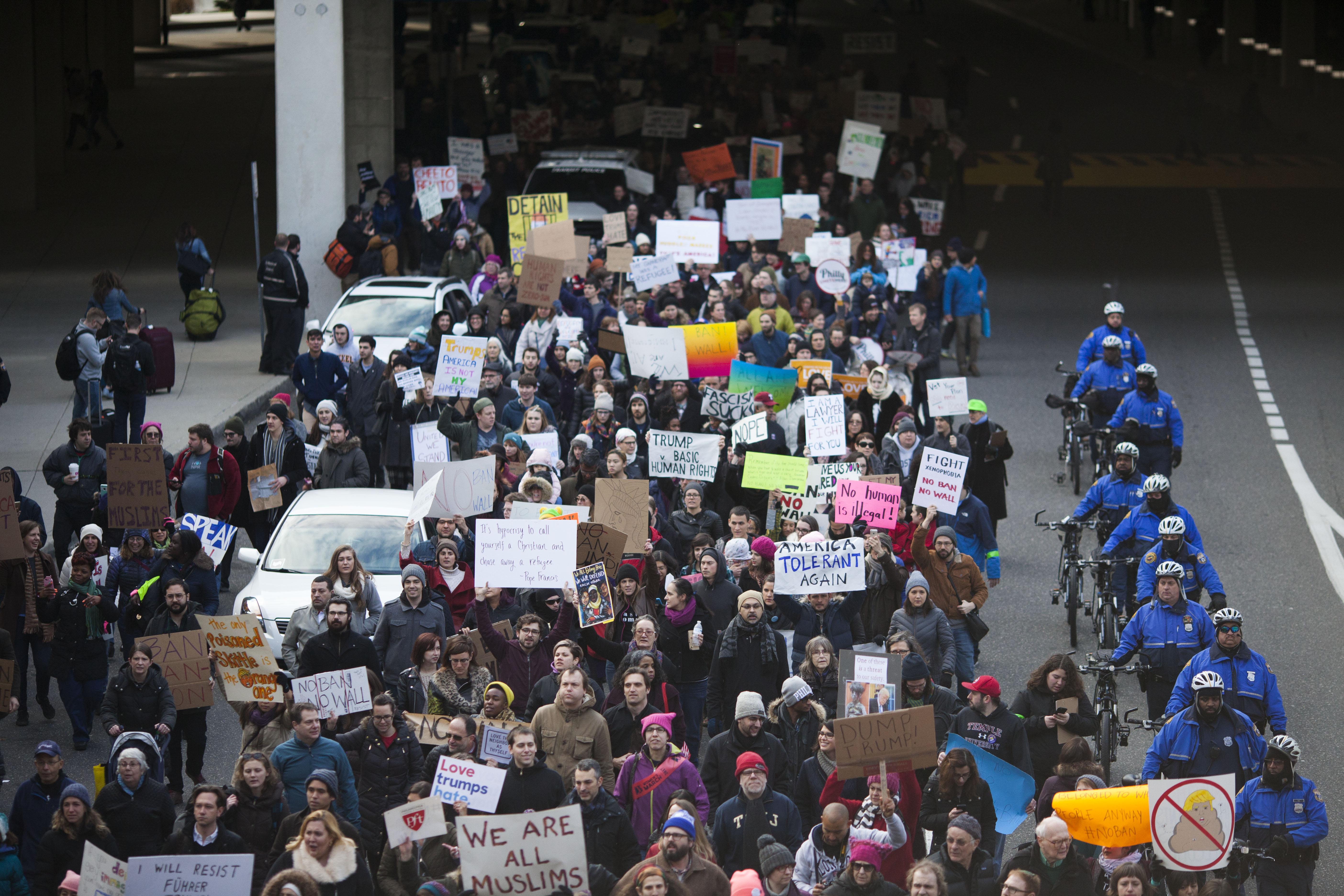 Protestors Rally At Philadelphia Airport Against Muslim Immigration Ban