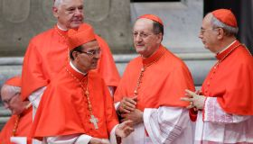 New Cardinal Gregorio Rosa Chávez greets by other Cardinals...