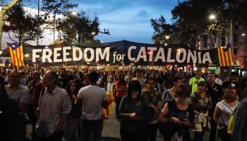 Demonstrators Protest Spanish Move To Suspend Catalan Autonomy
