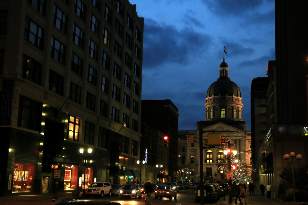 Indiana State Capitol at dusk time