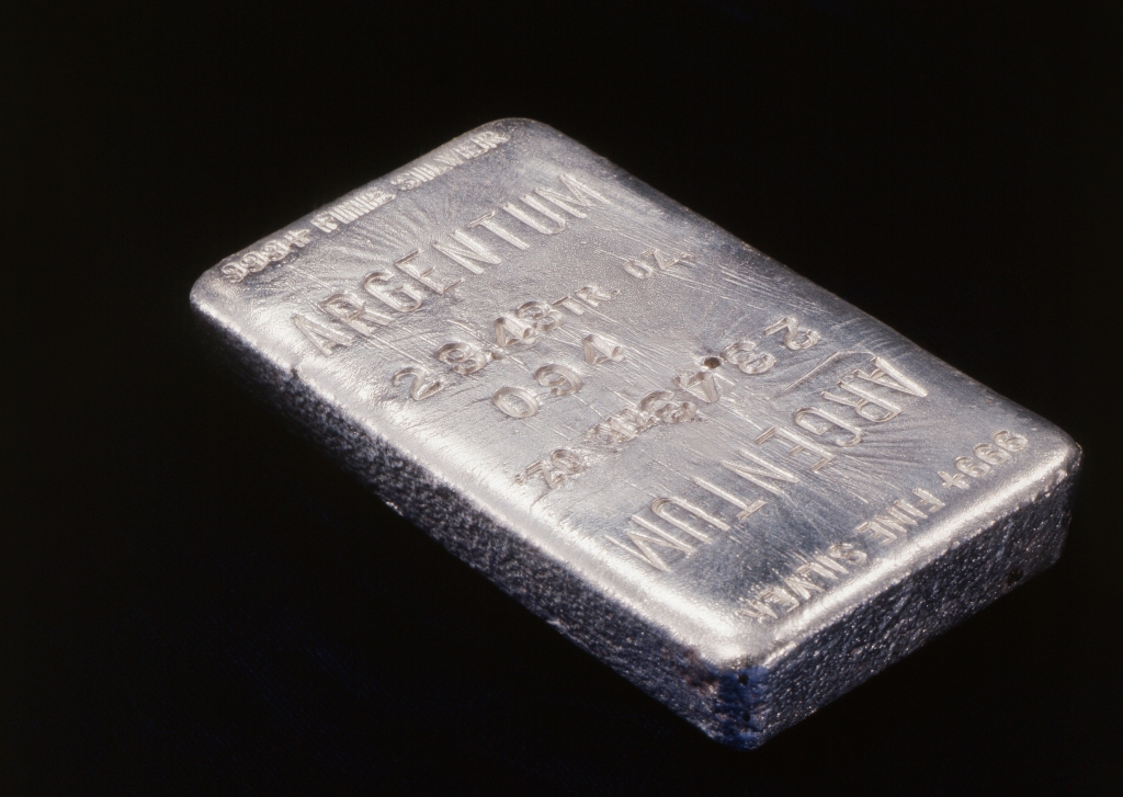 Close-up of silver ingot