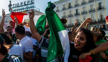 Mexico fans celebrating in Puerta de Sol after their victory...