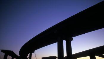 Freeway interchange bridges under construction, San Francisco Bay Area, California, USA
