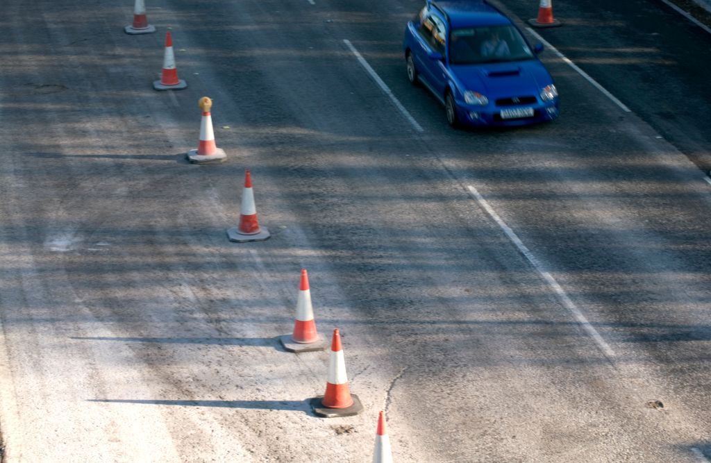 Red cones on a motorway