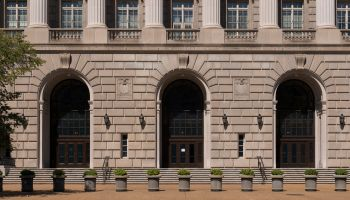 The Internal Revenue Service Building, located in the center of the Federal Triangle complex in Wash