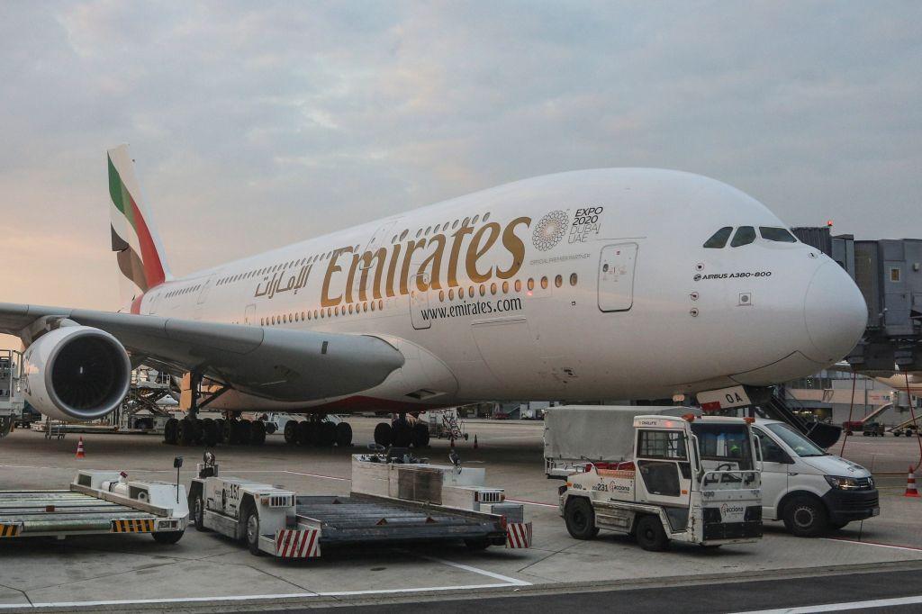 Emirates Airbus A380 at Dusseldorf Airport
