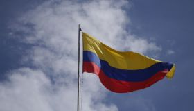 Low Angle View Of Colombian Flag Against Sky