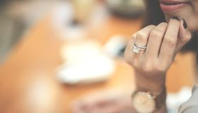 An engagement ring is a ring indicating that the person wearing it is engaged to be married