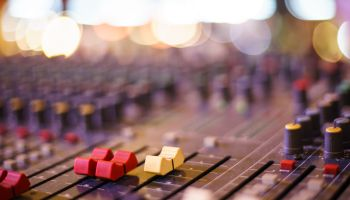 Audio sound mixer&lifier equipment, sound acoustic musical mixing&engineering concept background.