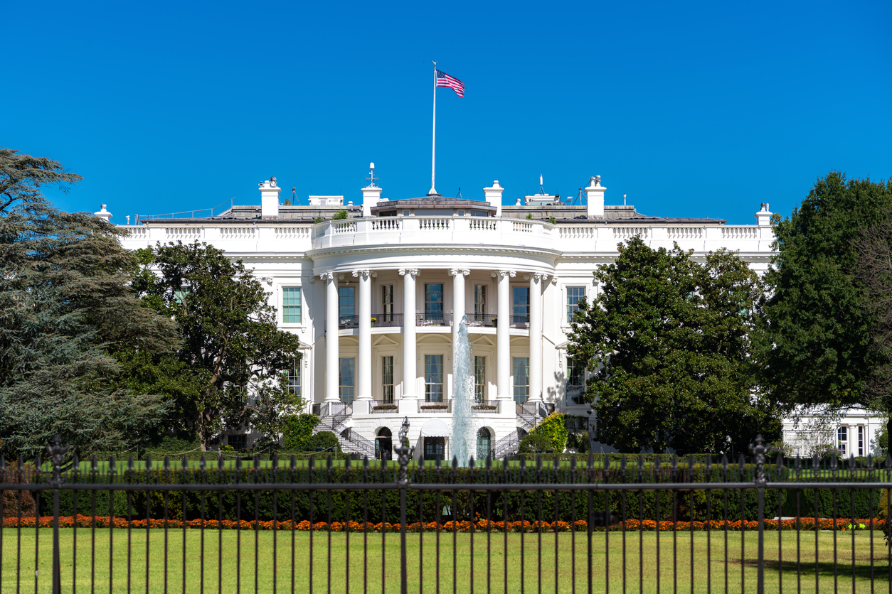 White House on deep blue sky background in Washington DC, USA.