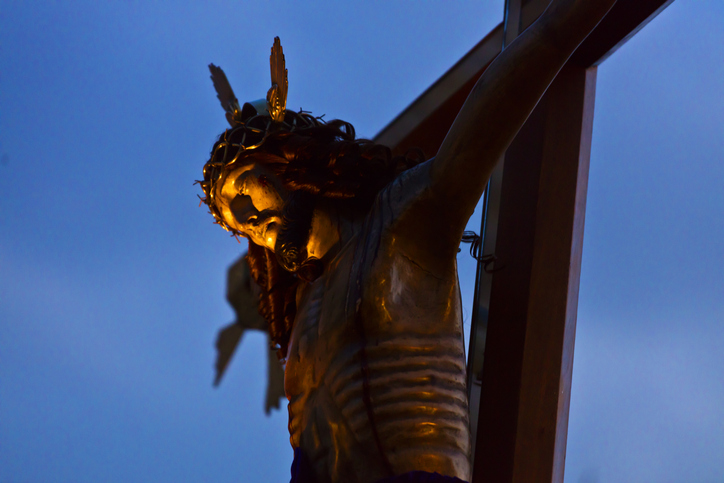 A statue of JESUS ON THE CROSS is carried in the Good Friday Procession, known as the Santo Entierro, from the ORATORIO CHURCH - SAN MIGUEL DE ALLENDE, MEXICO