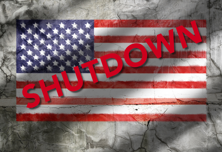 US Flag Texture Shutdown