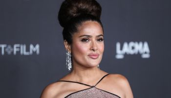 Actress Salma Hayek Pinault wearing Gucci arrives at the 2019 LACMA Art + Film Gala held at the Los Angeles County Museum of Art on November 2, 2019 in Los Angeles, California, United States.