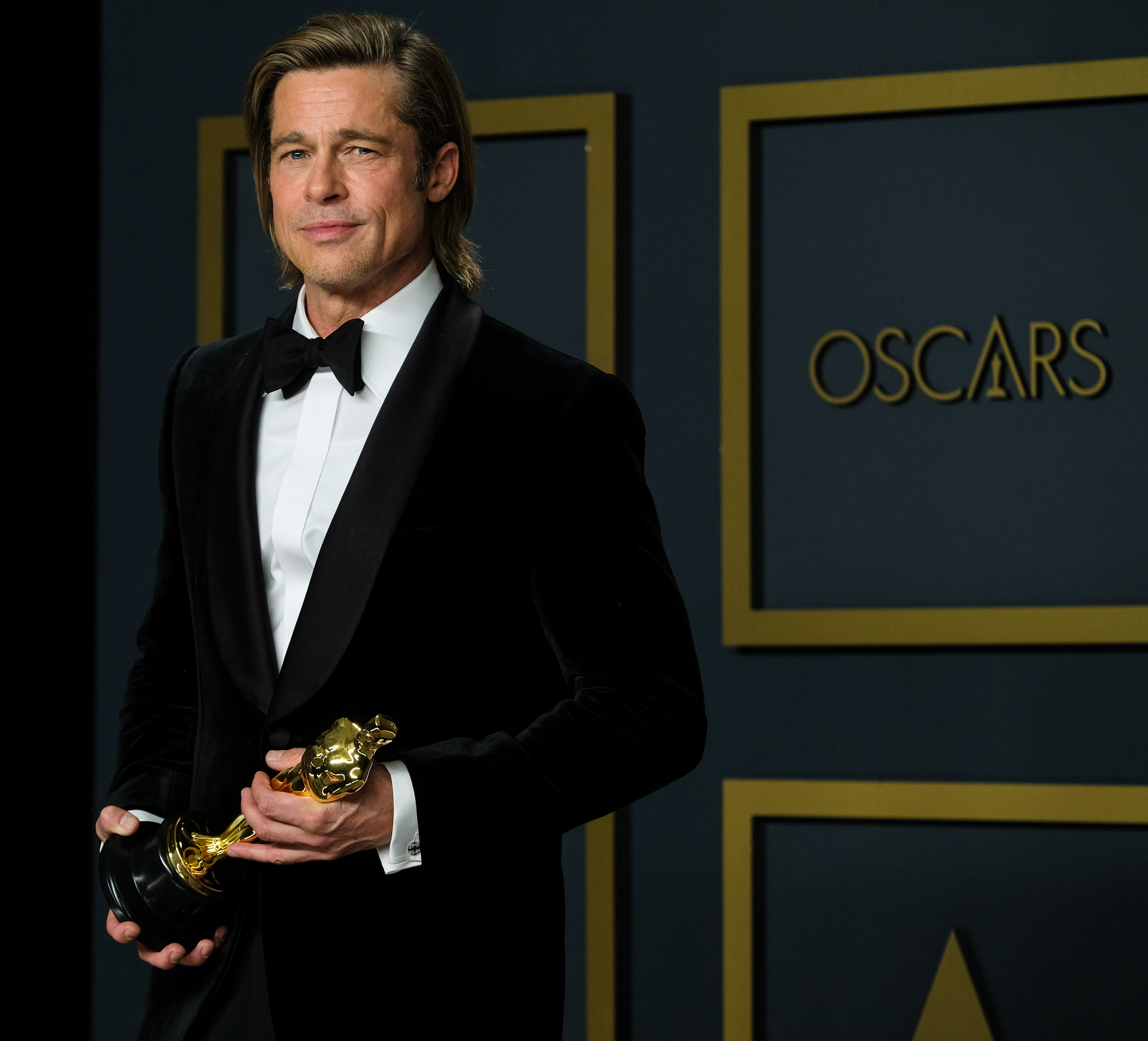 Brad Pitt poses with the Oscar for Actor In A Supporting Role in the film Once Upon A Time...In Hollywood during the the 92nd Academy Awards, 2020 on Monday 10 February 2020