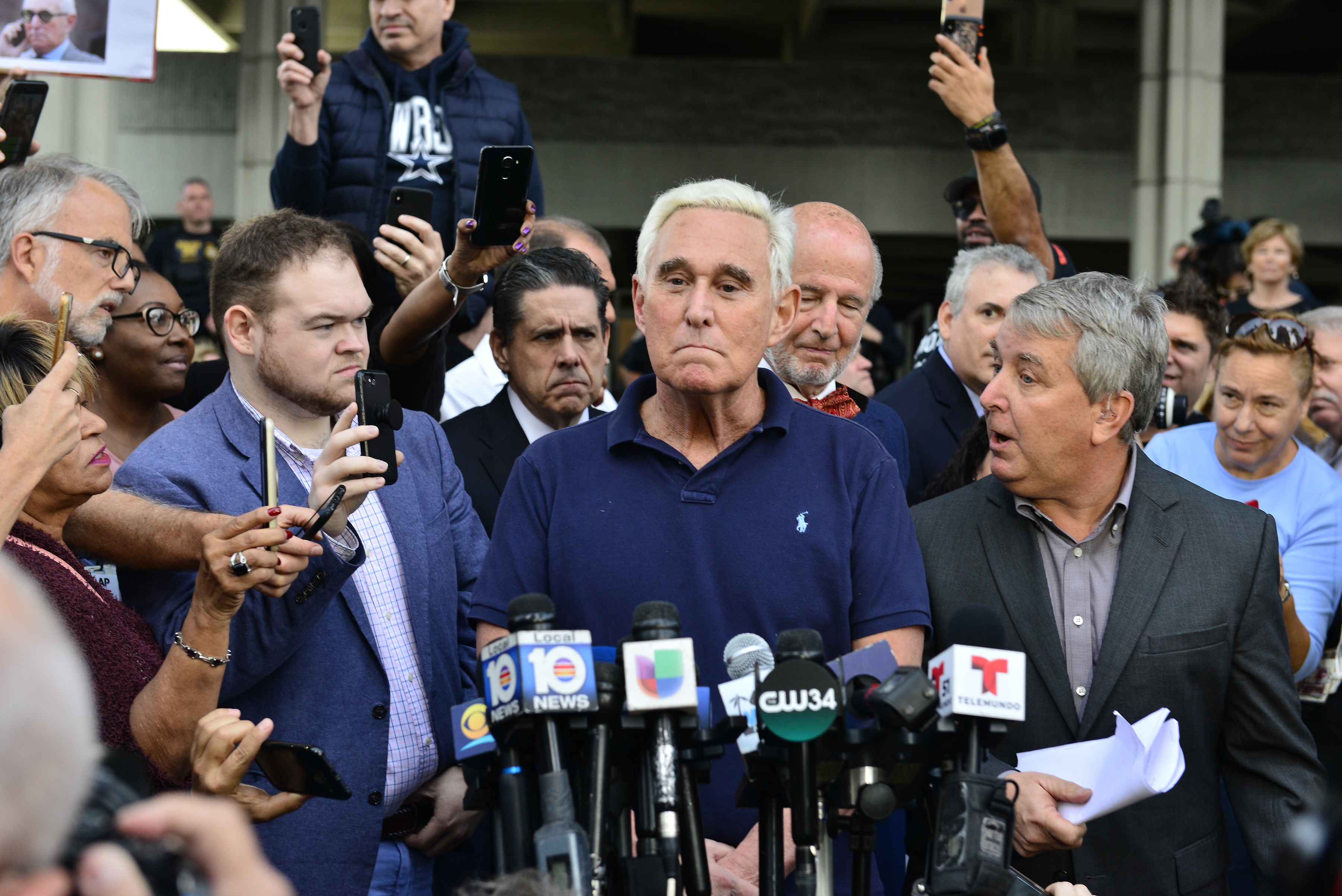 Roger Stone, former Trump campaign advisor, speaks to the media outside the Fort Lauderdale Federal Courthouse after being arrested by the FBI