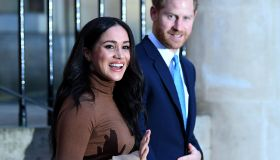 Britain's Prince Harry, Duke of Sussex and Meghan, Duchess of Sussex reacts as they leave after her visit to Canada House in thanks for the warm Canadian hospitality and support they received during their recent stay in Canada, in London on January 7,